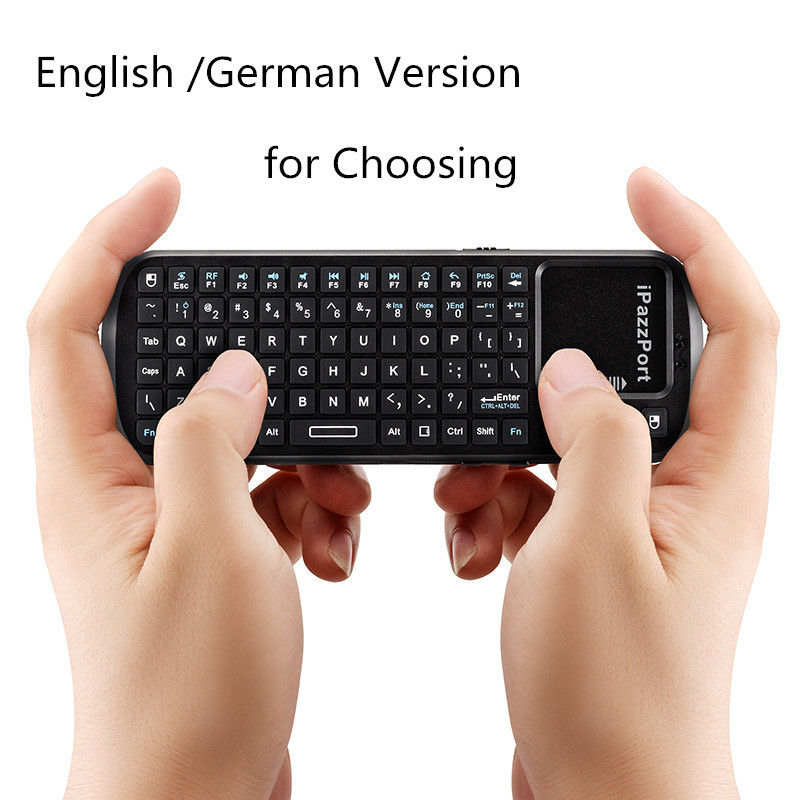 iPazzPort Mini 2.4G RF Wireless Keyboard with Touchpad Smart TV/PC Remote Control for Desktop Laptop English /German Version(China (Mainland))