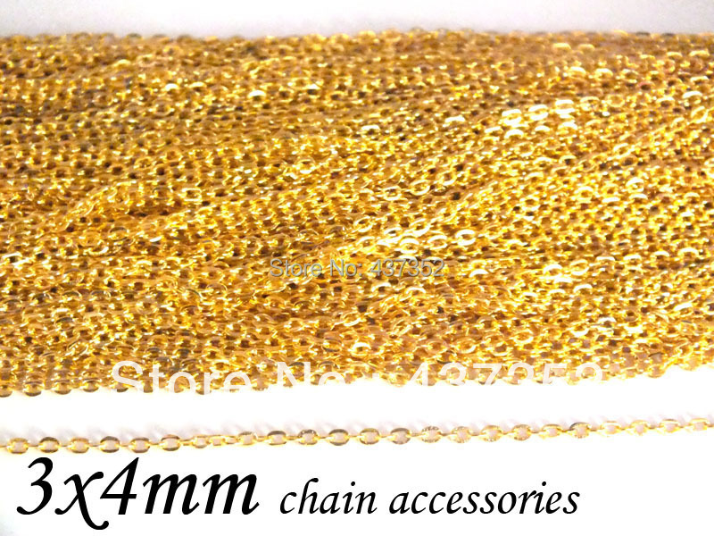 100m Gold Plated Tone Metal Jewelry Link Flat Cable Chains Findings 3x4mm<br><br>Aliexpress