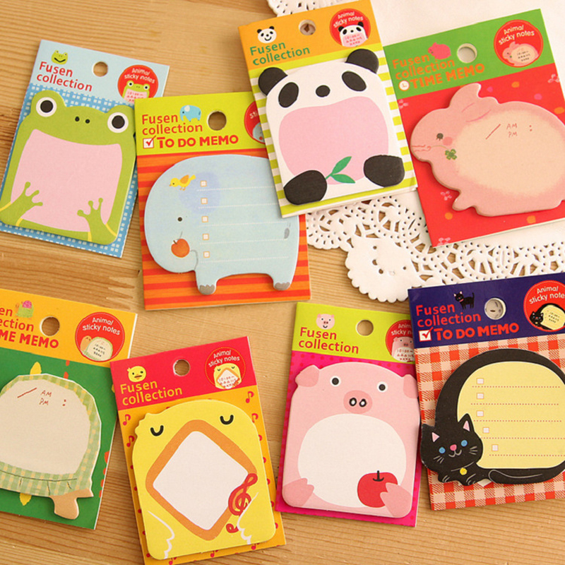 4 pcs/lot Korean Cartoon Animal Sticky Notes Creative Post Notepad Filofax Memo Pads Office Supplies School Stationery Scratch(China (Mainland))