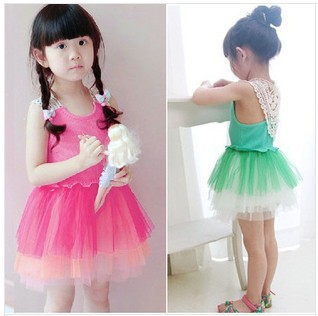 EMS/DHL Free shipping 2015NEW!Rose Red Green Girl Children Princess Dress Summer Party Dress Girl wear 10pcs/lot#(China (Mainland))