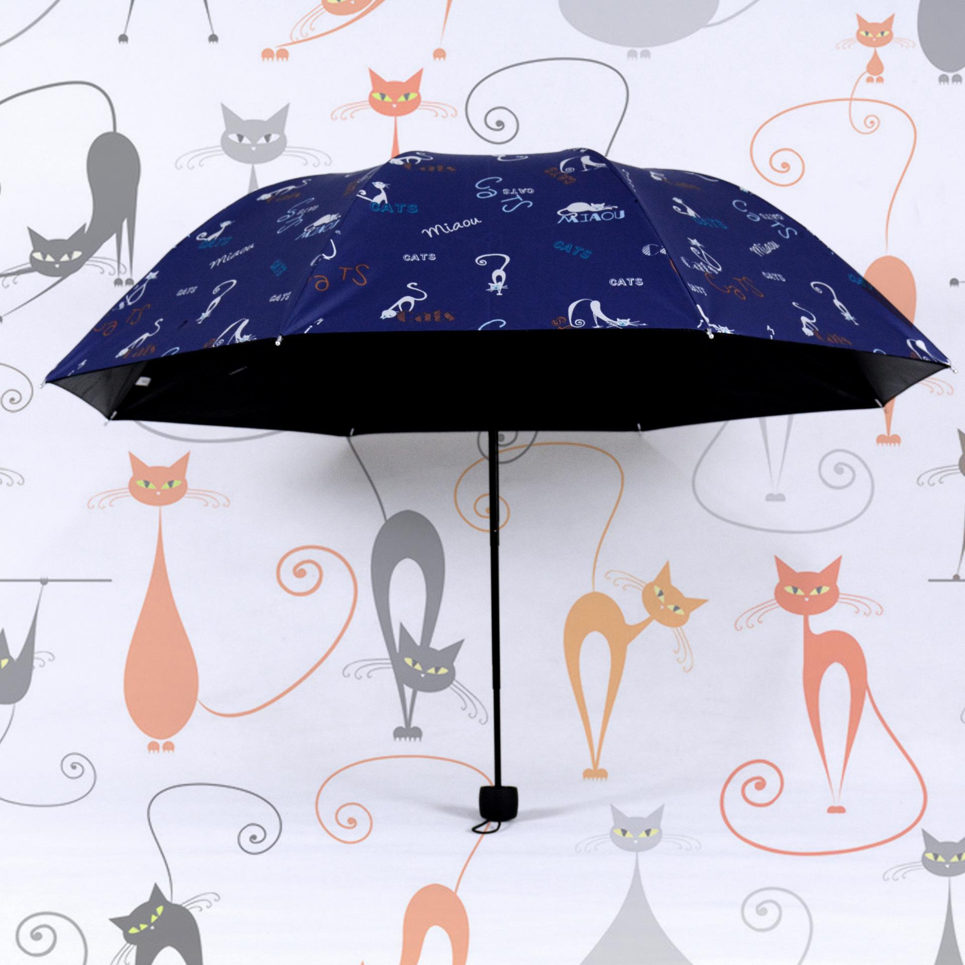 new Flat edge kitten mirror printing large umbrella vinyl UV sun umbrella rain shine creative ultralight vinyl pencil umbrella(China (Mainland))