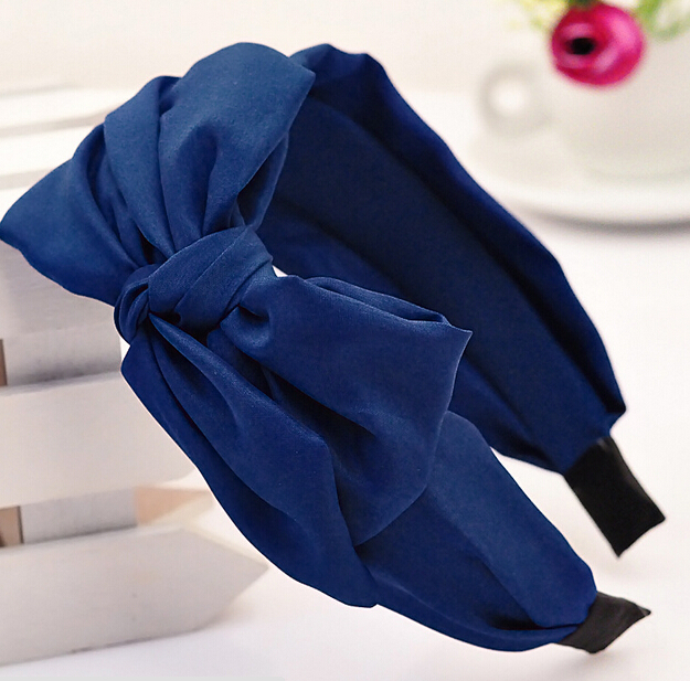 FD1910 Wide Ribbon Bowknot Bow Hair Hoop Tie Headband Hairwear ~Navy Blue~ 1pc(China (Mainland))