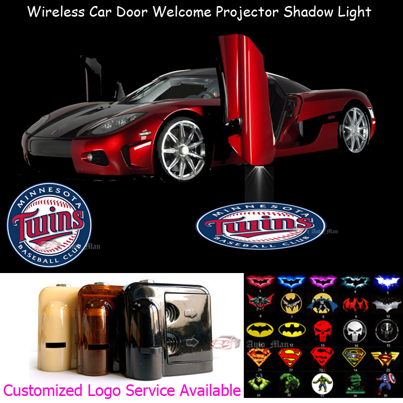 2pcs Wireless MLB Minnesota Twins Logo Car Door Welcome Laser Projector Ghost Puddle Shadow CREE LED Lights(China (Mainland))