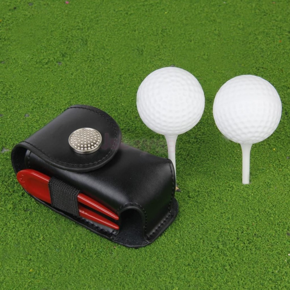 Mini Portable Leather Clip On Golf Ball Holder Pouch Bag Hold 2 Balls Golfer Aid Tool Gift Black(China (Mainland))