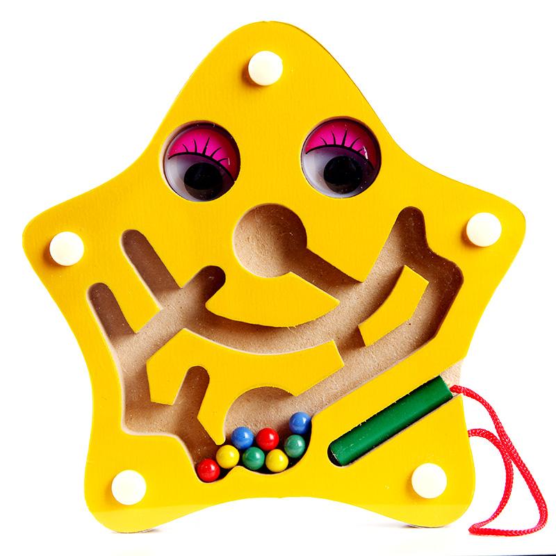 Free shipping, magnetic brush maze, small starfish handheld magnetic maze, filial, children's educational toys(China (Mainland))
