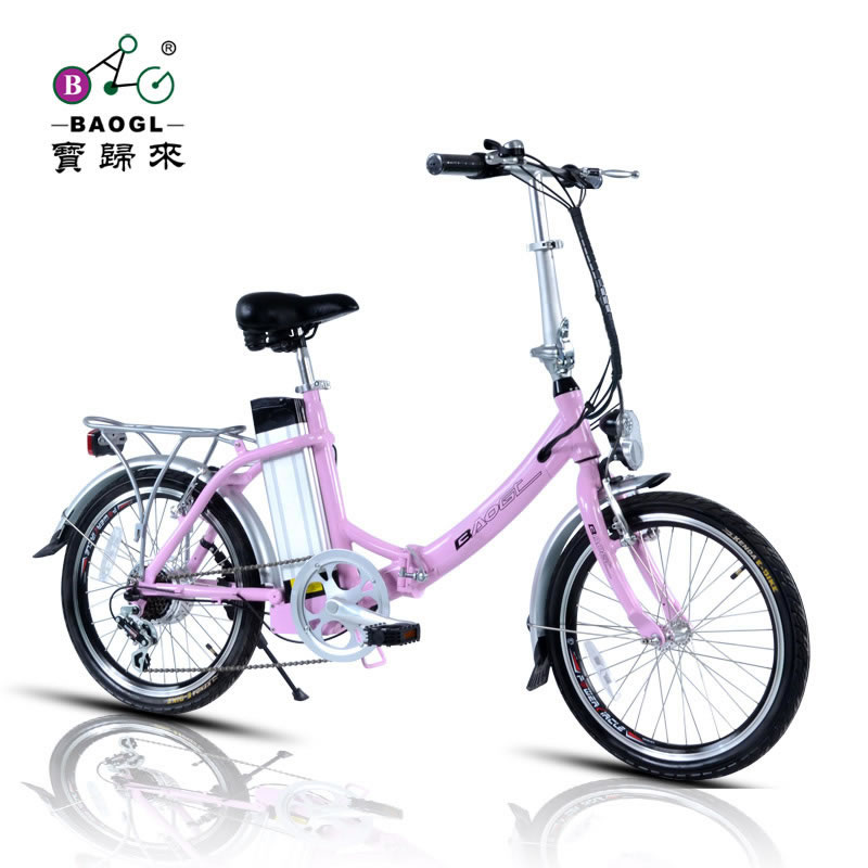 2013 NEW Baogl electric bicycle lithium battery folding bicycle 36v women s 50 20 pink paragraph