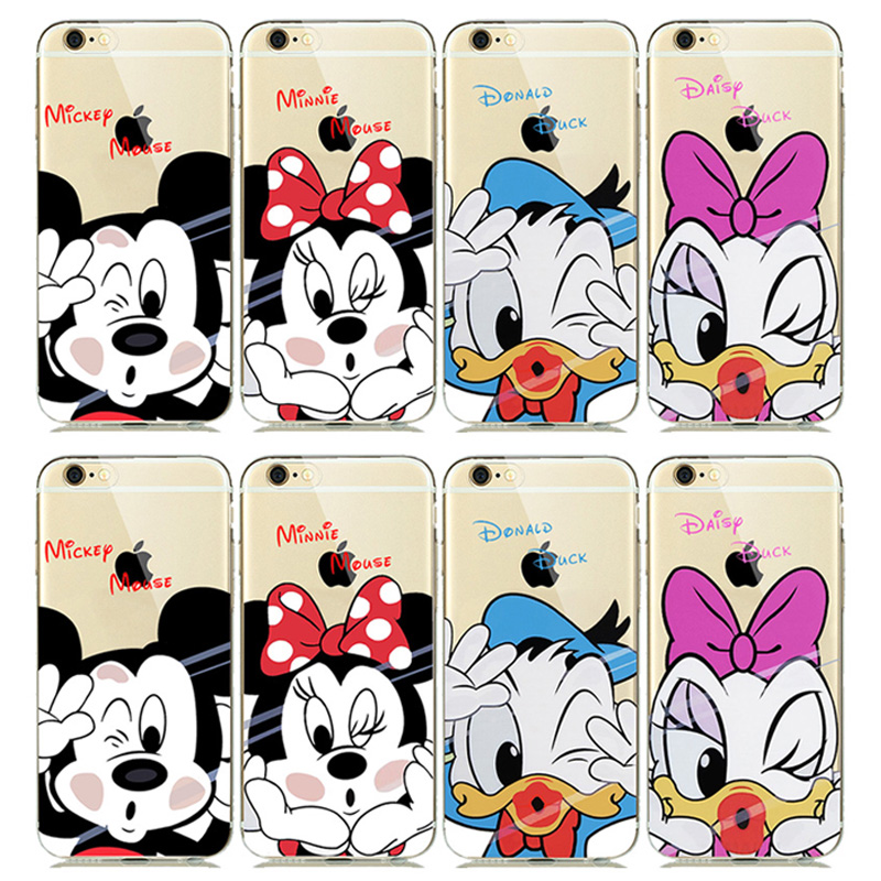 ULTRA Slim Fitting Skin Soft Clear Rubber Silicone Cover for iphone 5s 6 6s Plus Cute Mickey Minnie Mouse Donald Daisy Duck Case(China (Mainland))