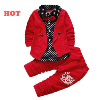 2016 boys spring two fake clothing sets kids boys button letter bow suit sets children jacket + pants 2 pcs clothing set