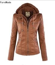 ForeMode Jacket  European Fashion Lapel Detachable Zipper Ladies Leather Jacket Coat  Long Sleeve brown woman jacket  with fur(China (Mainland))