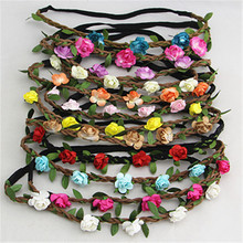 Korean hair jewelry bohemian beach rose flower hair bands bridal wreath headband wholesale