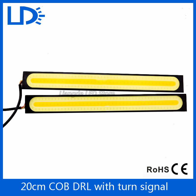 2Pcs 20cm COB DRL Daytime Running Lightswith turn signals Auto lighting Universal Car Styling Waterproof LED daytime light(China (Mainland))
