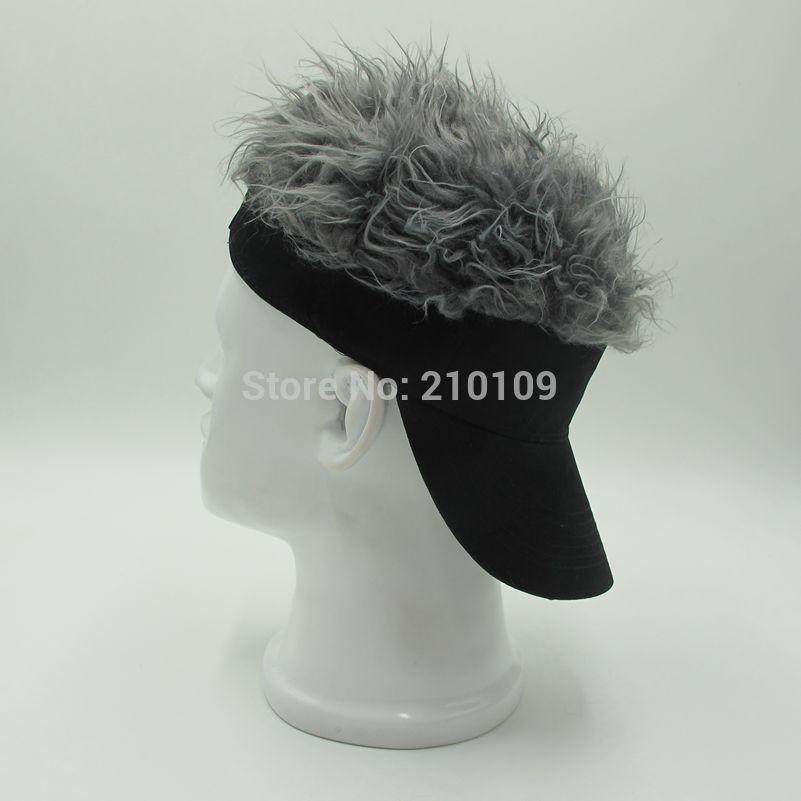 200 pcs/lot Fashion Novelty Baseball Fake Flair Hair Sun Black Visor Hats Man's Women's Toupee Wig Unisex Funny Cool Golf Caps(China (Mainland))