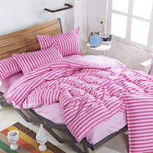 New Drop Ship Bedding Set Twin/Full/Queen Size Duvet Cover Set Classic A Double Solid Color Stripe Bed Sheet Sets Home Textile(China (Mainland))