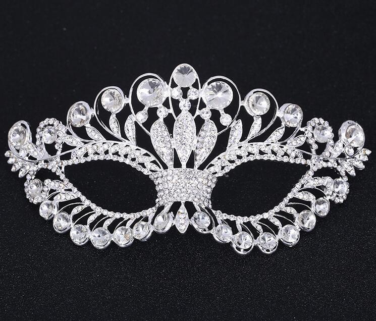 Crystal Mask Silver Tone Venetian Bridal Masquerade Rhinestone Crystal Eye Mask Halloween Fancy Dress Ball Party Mask FJ21(China (Mainland))
