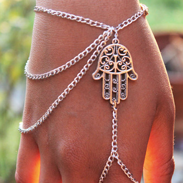 New Hand make Women charm bracelets & bangles Harness The Hamsa Hand Chains Slave Hand Finger Bangle For Women B38(China (Mainland))
