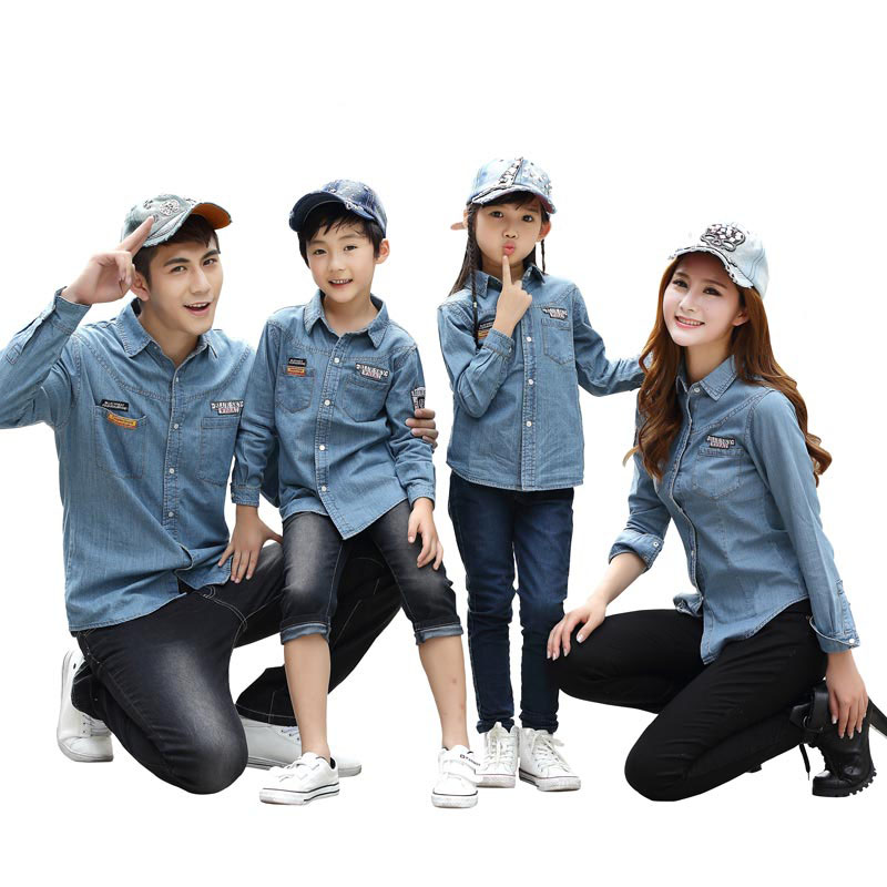 Matching family clothing denim jacket 2016 spring family look matching mother daughter jeans shirt father son denim shirts nice plus size clothing shop