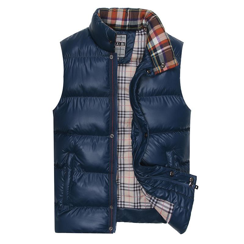 2015 Winter Thick Vest Mens Turtleneck Down Vest Waistcoat Slim Zipper Solid Jackets Casual Outerwear Cotton