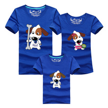 Dad Mom Baby Summer Clothes Cute Dog Cotton T Shirt For Mother Son Father Daughter Family Matching Outfit Plus Size Casual Tees