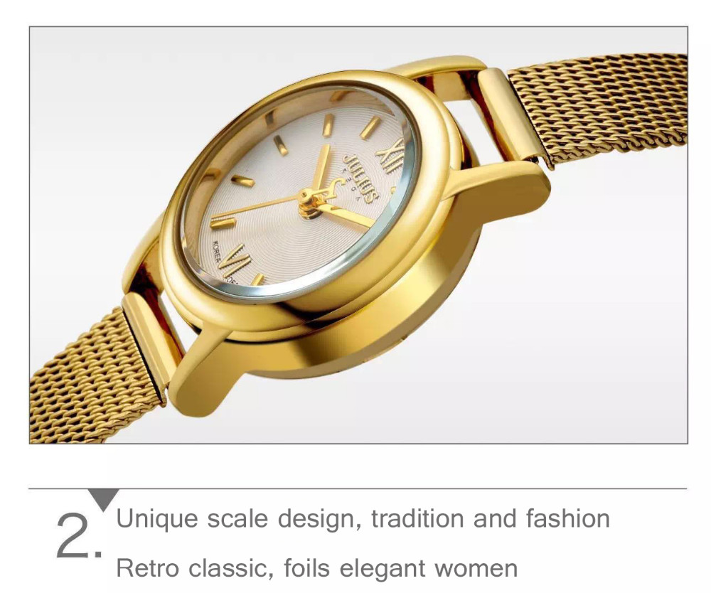 2016 Июня новейшая Мода досуга Топ Люксовый бренд ЮЛИЙ женские Часы Из Нержавеющей Стали Сетка ремешок женские Кварцевые часы JA-887