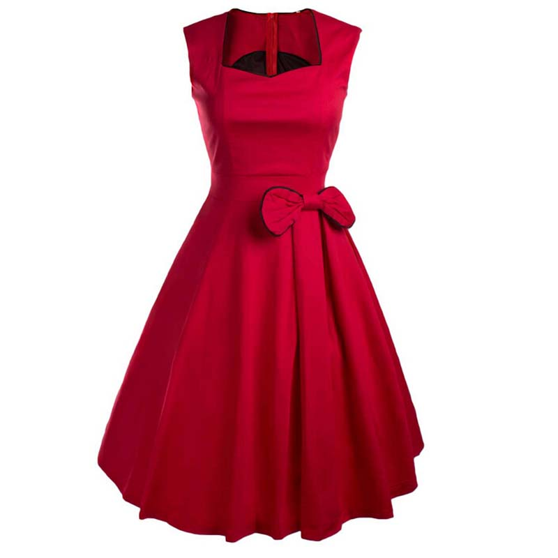 Vestidos Women Summer Dress Vintage Retro Party Robe Rockabilly 50s Classic Pleated Bow Dresses New Womens Clothing(China (Mainland))
