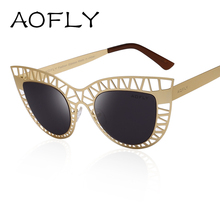 AOFLY Brand Sunglasses Fashion Lady Vintage Cat Eye Sunglasses Female Hollow out Mirror Sun glasses for Women oculos de sol