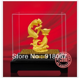 YZ-R1129 gold craft/24K gold craft gift/Hot Sell! Chinese 24K gold Carved Double Carp Jumping Fish  Door Statue