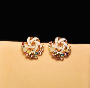 Rhinestone Twist Stud Earrings