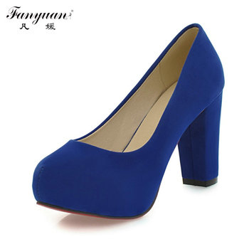 New Arrivals 2015 Fashion Shallow Thick High Heels Round Toe High Heels Platform Pumps Shoes Sexy Buckle Strap Pumps Hot Sale