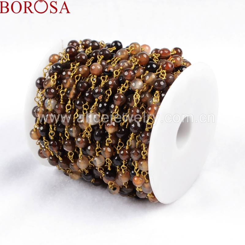 BOROSA Free Stylish Handcrafted Gold Color Silver Color Natural Brown Color Crystal Faceted Beaded Chains JT077