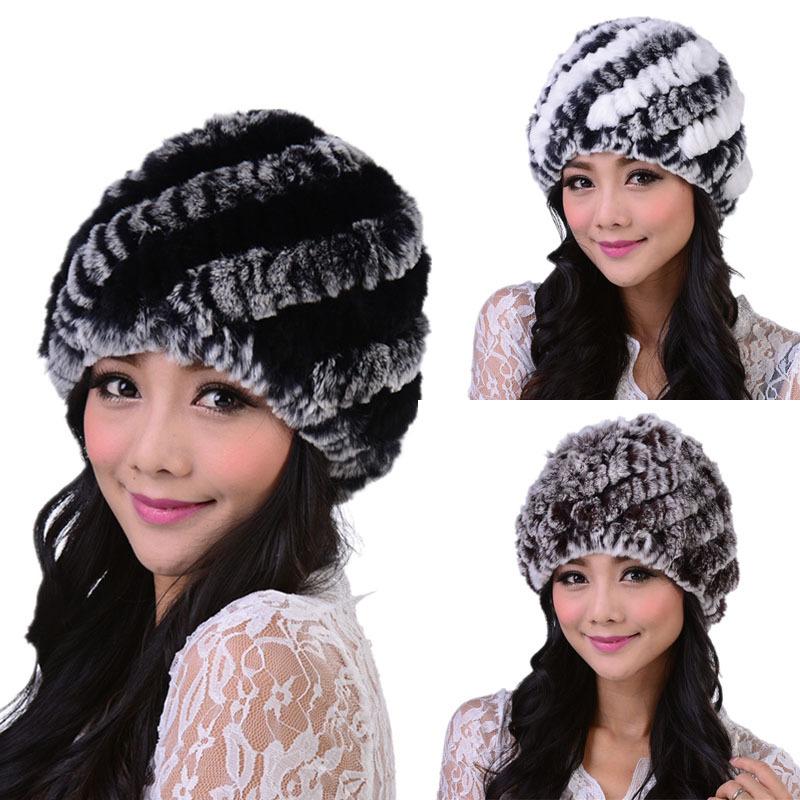 2015 New Style Genuine Knitted Rex Rabbit Fur Hat Natural Rabbit Stripe Fur Caps Fashion Women Beanie Headgear Various Colors(China (Mainland))