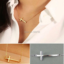 1PC New Fashion High Horizontal Sideway Cross Pendant Necklace Women Chain Jewelry Gold/Silver Choker Cheap Drop Free