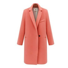 Women's Winter Jackets and Coats Single Button Elegant Warm Women Woolen Coat 2016 Thicken Long Plus Size Women Coat Jacket(China (Mainland))