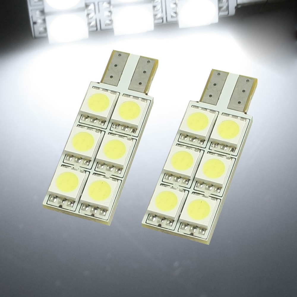 2 Pcs/lot Car Vehicle 6 White LED T10 5050 SMD 655 W5W Replacement Lamps Bulbs door dome Trunk 34mm x 12mm (L*D) Discount 70(China (Mainland))