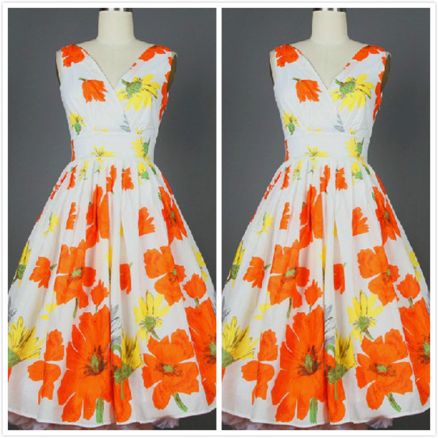 Orange and white floral dresses