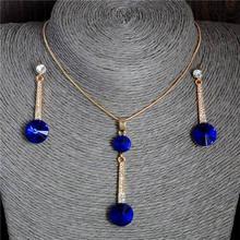 2017 זהב צבע תליוני & שרשרת Stud עגילי כחול טבעי אבן מעוקב Zirconia קריסטל רומנטי כלה תכשיטי סטים(China)