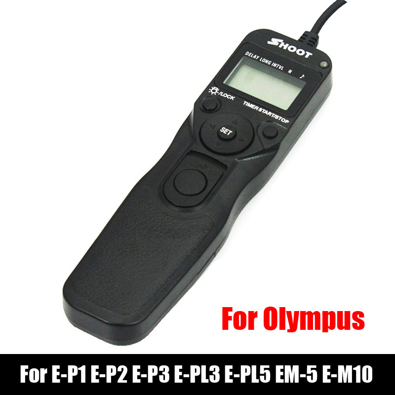 Shoot RM-UC1 LED Selfie LCD Timer Remote Control Shutter Release Cable For OLYMPUS E-620 E-PLM1 EP5 E-PL5 E-M5 E-M10 OM-D E520(China (Mainland))