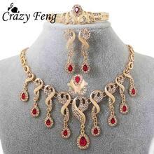 בציר זהב-צבע תכשיטי עבור נשים זירקון קריסטל הצהרת שרשרת + צמיד + עגיל + טבעת חתונה כלה תכשיטי סט(China)