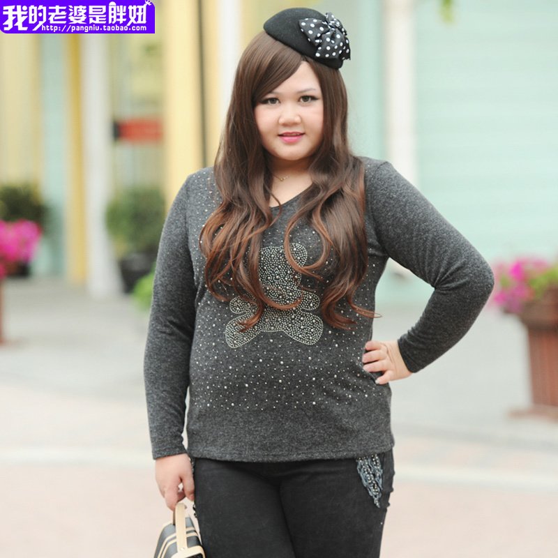 My wife is fat spring large size women fat mm 19815 primer grey bear size shirt(China (Mainland))