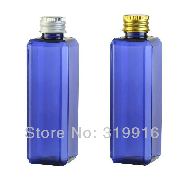 Wholesale R20-100ml blue square jar bottles containers with aluminum metal cap with stopper 50pc/lot free shipping(China (Mainland))