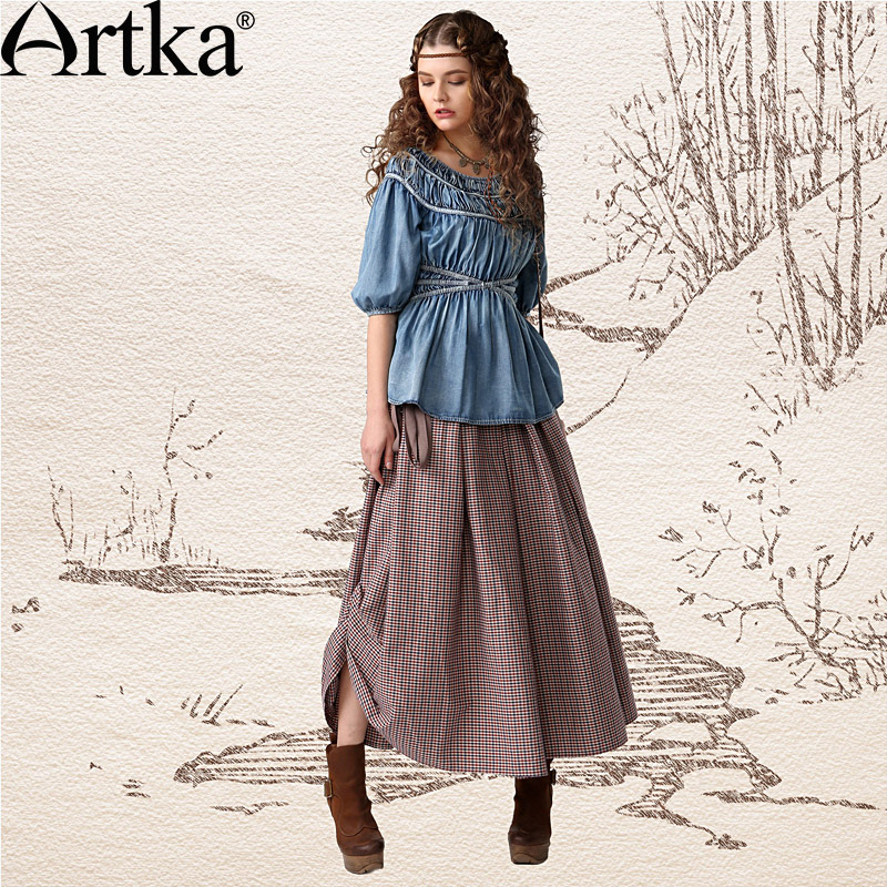 Artka Women's Cray In Life Series Retro Ethnic Plaid Belted Cinched Waist Swing Hem Side Drawcord Skirt QA10441C(China (Mainland))