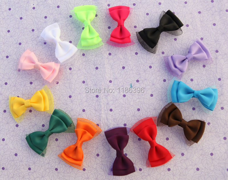 30pcs/lot 13colors Baby Girl Elastic Net Hair Bow with Clip High Quality hairpin for Children's Hair Accessories CYD-037(China (Mainland))
