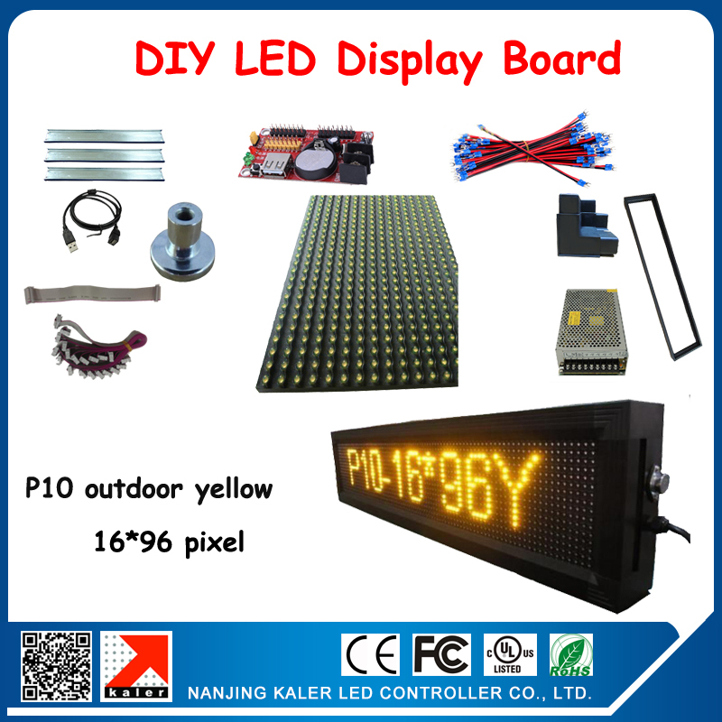 Factory price outdooor p10 3pcs yellow color led display module 320*160mm 24*104cm led sign board with all diy kits(China (Mainland))
