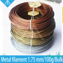 Hot!100g 3D Printer Metallic Filament,40% Of Metal Content Filaments -Pure Copper /Brass /Bronze /Copper /Aluminum, 1.75