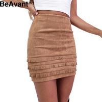 BeAvant 2016 Retro tassel suede leather pencil skirt Elegant high waist short slim women skirt Casual winter bodycon mini skirts