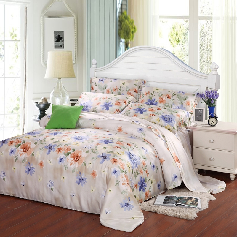 Luxury Blue Floral Queen King Size Bedding Set Silk Sheets