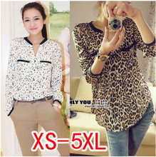 2015  Fashion women blouses  leopard print shirt women tops loose plus size chiffon shirt blusas XS-5XL(China (Mainland))