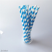 Free Shipping 25pcs Blue Striped Design Paper Drinking Straws Creative Drinking Tubes Wedding Party Decorations