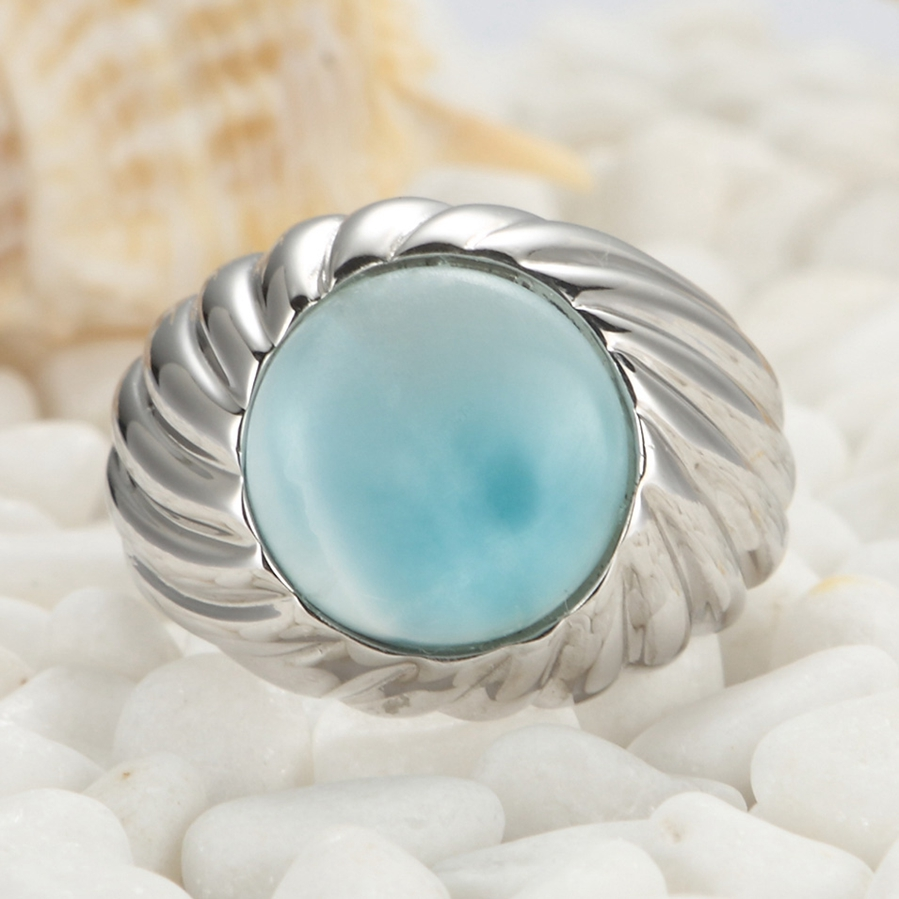 Larimar and White Cubic Zirconia 925 sterling silver jewelry Ring SS--3802 Size #6 7 8 9 New pattern Rave reviews Christmas gift(China (Mainland))