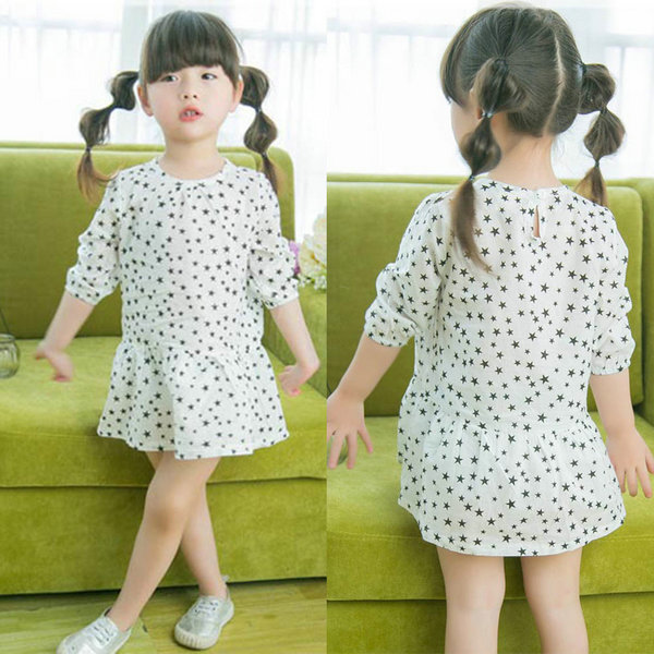 Wholesale Baby Girl Star Printed 3/4 Sleeve Dress Kids Pleated Long Tops Dress 2-7Y(China (Mainland))