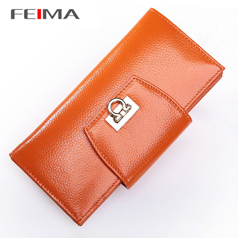 FEIMA! 100% Genuine Leather Women Clutch Purses Female Wallet Hasp Ring Long Woman Purse Wallets Designers Brand 5 colors 151708 от Aliexpress INT